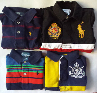 2 NEW POLO RALPH LAUREN BABY BOY LITTLE PONY &CREST CHEST SHORT SLEEVE SHIRT 12m