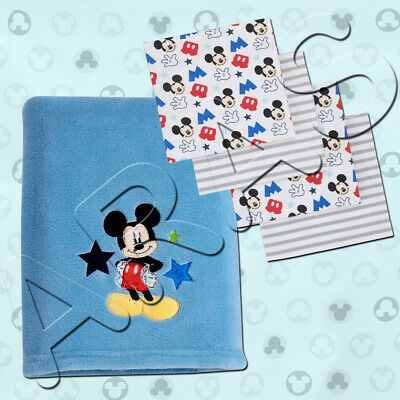 Mickey Mouse Appliqued Coral Fleece & 4pc Receiving Blanket by Disney Baby