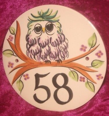 Hand Painted Glazed Round Ceramic Tile Owl House Number Plaque, No 58.