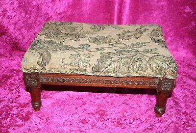 Lovely Antique Victorian Hand Carved Mahogany Footstool With Original Upholstery