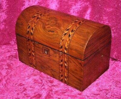 Antique Early 1800's Small Wood Veneered Marquetry/Parquetry Domed Top Chest/Box