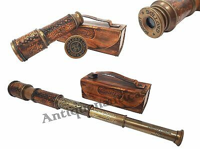 Marine Brass Telescope 16 Inch DOLLOND LONDON Vintage Antique With Leather Box