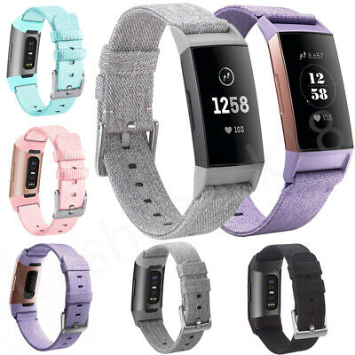 Replacement Nylon Fabric Strap Band Spare Woven Watchband For Fitbit Charge 3 UK