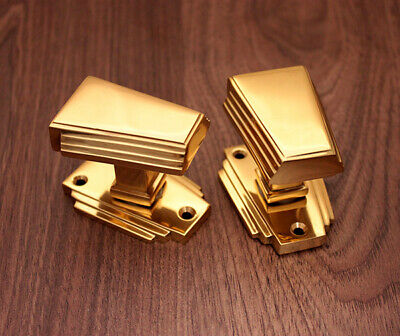 Art Deco Antique Style Solid Brass Victorian Door Knobs Mortice Polished Brass