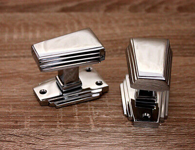 Art Deco Antique Style Solid Brass Victorian Door Knobs Mortice Handles Chrome
