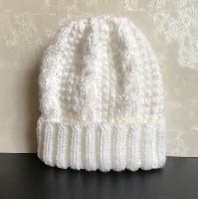 Brand New Hand Knitted White/ Twinkle Baby Hat Size 0-3 Months, Free Postage.