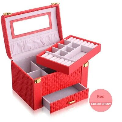 Red Large Jewellery Box Gifts Necklace Ring Storage Lock Case Mirror Organizer