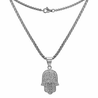 Hamsa Pendant Cubic Zirconia with Chain Necklace Set Gold Plated Jewelry for Men
