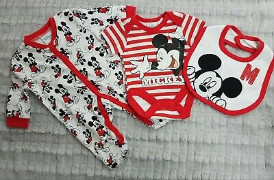 Disney Baby 3pc Layette Set - Red Mickey Mouse - Sleepsuit, Bodyvest and Bib