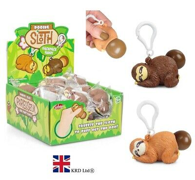 POOING SLOTH BAG KEYRING SQUEEZY POO TOY 35178 MONKEY STRESS ANIMAL SQUEEZE