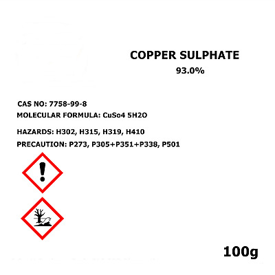 Copper Sulphate Pentahydrate 100g High Purity Shipping Animal Feed Care FREE UK