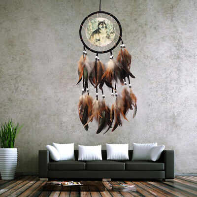 Dream Catcher Brown With feathers Wall Hanging Decoration Decor Ornament Wolf