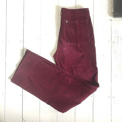 Pink / Red Vintage Cord Corduroy Flares Trousers 70s W30 L31