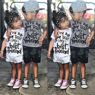 Toddler Kids Baby Boys Girls Clothes Sets T-Shirt + Short Pants 2PCs Clothes Set
