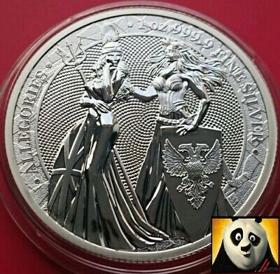 2019 Germania Mint Britannia & Germania Allegories 5 Mark Silver 1oz Coin