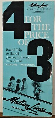 1961 Matson Lines vintage Hawaii cruise brochure CA round trip b