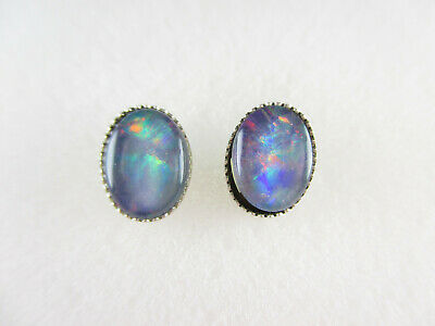 925 Sterling Silber Ohrstecker Opal Ohrringe Vintage silver earrings Modernist