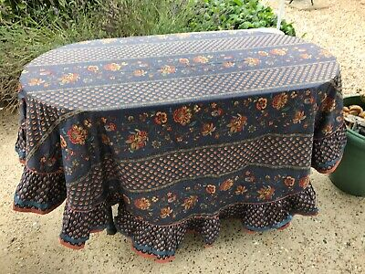 Vintage Very Pretty Frilled Tablecloth In Excellent Condition.