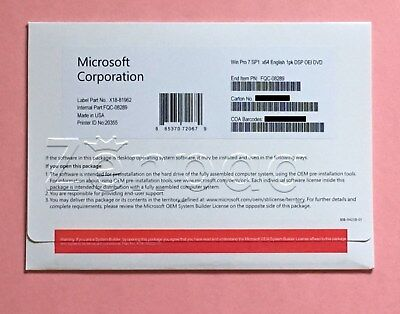 ****Microsoft Windows 7 PRO PROFESSIONAL SP1 64Bit OEM FULL VERSION & Laptop****