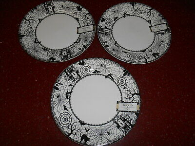 3 CIROA Halloween Wicked Salad Plates Wiccan Lace Spiderweb Cats Bats More...