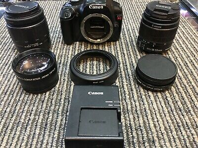 Canon EOS Rebel T3 1100D 12.2MP DSLR Digital Camera W/18-55mm IS 4 Lenses Total