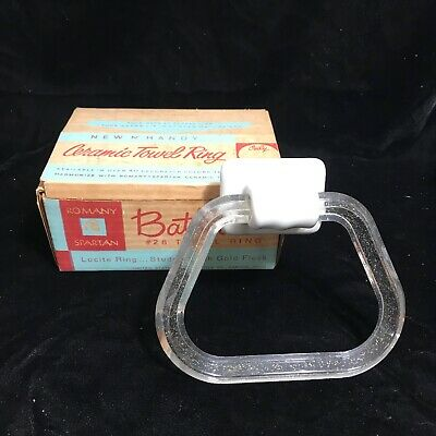 Vintage Mid Century Glitter Lucite Ceramic Towel Ring in Box Unused NOS Spartan