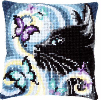 Cat & Butterflies Large Holed Printed Tapestry Canvas Cushion Kit Cross Stitch