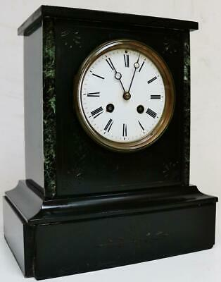 Antique French 19thC 8 Day Slate & Green Marble Bell Striking Mantel Clock