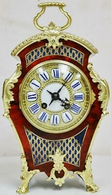 Antique French 8 Day Red Shell & Bronze Boulle Mantel Clock Platform Escapement