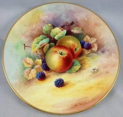 Minton Cabinet Plate Fruit Hand Painted Signed L Woodhouse Apple Blackberries
