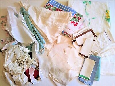 Lot 59 Vintage Linens Napkins Runners Tablecloths Aprons Hand Towels embroidered
