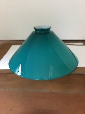 Vtg Blue Green Cased Glass Lamp Shade Pendant Cone 10 Inch 🇫🇷