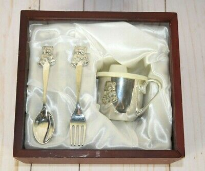 Silver Plated Teddy Bear Baby Cup Fork & Spoon Set Wood Box Gift