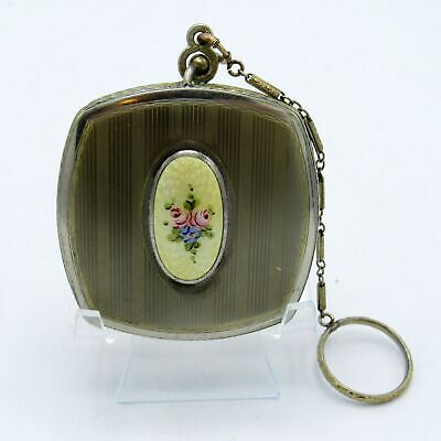 Vintage Gold Tone Guilloche Enamel Finger Compact with Bar Chain FINBERG