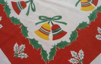 Large Vintage Printed Cotton Tablecloth Christmas Bells Bows Holly Berry
