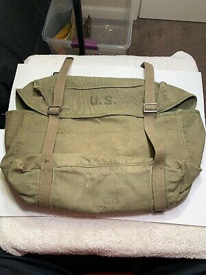 Vintage Us Army Ww2 M-1945 Pack Field Cargo Canvas Military Bag 1951 Dumas #5A