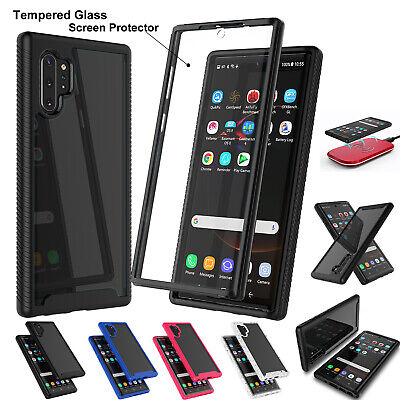 For Samsung Galaxy Note 10+ Plus 5G Clear Case +Tempered Glass Screen Protector