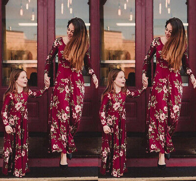 Mother Daughter Family Matching Dress Mommy and Me Floral Maxi Dresses Outfit
