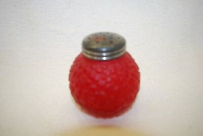 Beautiful Victorian Consolidated Frosted Cranberry Periwinkle Salt Shaker 1890'S