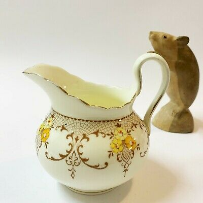 1930s Vintage Plant Tuscan Art Deco Milk Jug Creamer, Hand Painted English China