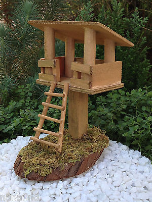 Miniature Dollhouse FAIRY GARDEN Furniture ~ Wood Tree House with Moss Base