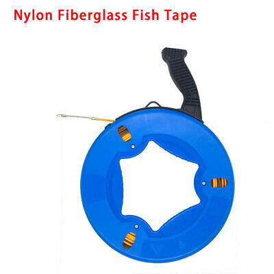 98FT Fiberglass Fish Tape Reel Puller Conduit Ducting Rodder Pulling Wire Cable