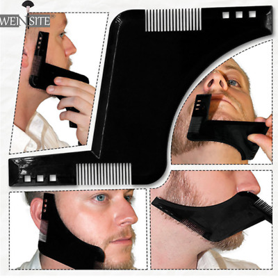 Mens Double Sided Beard Shaping Template Cutting Razor Comb L Shape Trimming UK