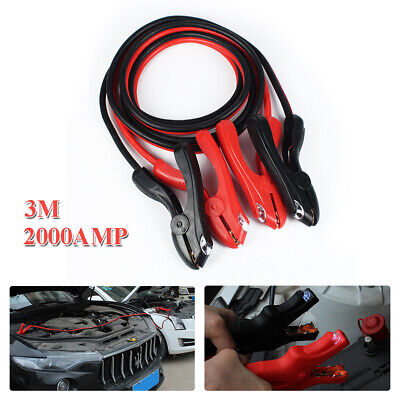 2000AMP 2 Gauge Booster Cables 10FT Power Start Jumper Heavy Duty Car Van SUVs