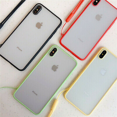 For iPhone Xs Max XR 7 8 Plus 6 Matte Bumper Hard Strap Phone Acrylic Case Cover