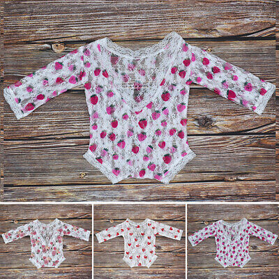 Newborn Romper Jumpsuit Baby Infant Girl Printed Lace Backless Cute See through