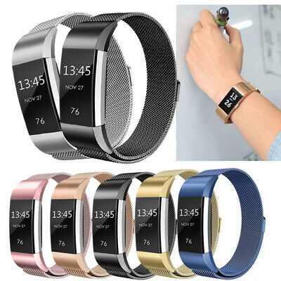 For Fitbit Charge 2 Band Metal Stainless Steel Milanese Wristband Strap Loop