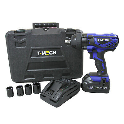 Cordless Impact Wrench 18V Electric 1/2 Inch Driver Tool / 4 x ½ Inch Sockets