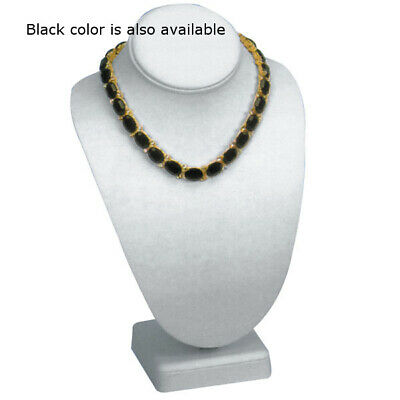 Leatherette Standing Necklace Bust in Black - 7 W x 11 H Inches