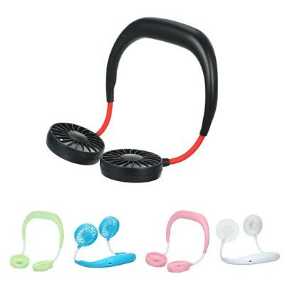 USB Rechargeable Wearable Portable Hand Free Neckband Personal Neck Double Fans.